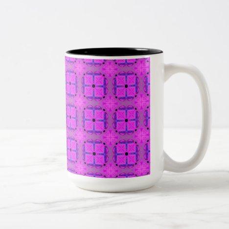 Abstract Dancing Diamonds Purple Violet Two-Tone Coffee Mug