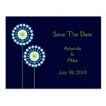 Abstract Dandelion Flowers Save The Date Card Postcard