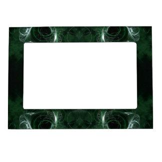 Abstract, Dark Green Fractal Pattern. Magnetic Frame