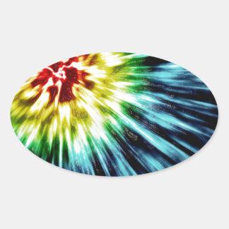 Abstract Dark Tie Dye Oval Sticker