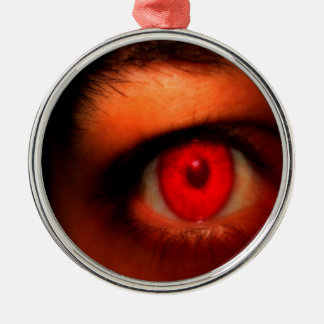Abstract Dark Vampire Eye Metal Ornament