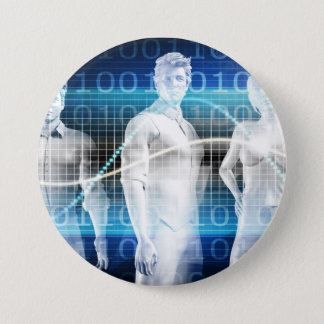 Abstract Data of Population and Key Demographic Pinback Button
