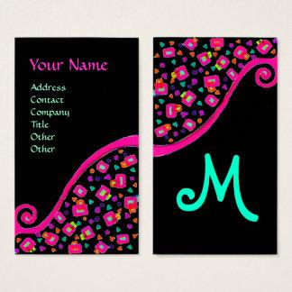 ABSTRACT DECO MONOGRAM Pink Fuchsia Black Blue Business Card