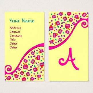 ABSTRACT DECO MONOGRAM Pink Fuchsia Black Yellow Business Card