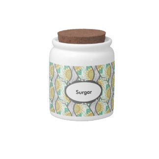 Abstract Decorative Sunflower Personalizable Candy Jar