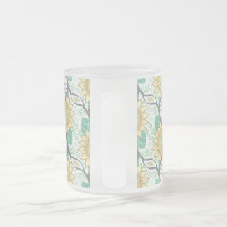 Abstract Decorative Sunflower Personalizable Frosted Glass Coffee Mug