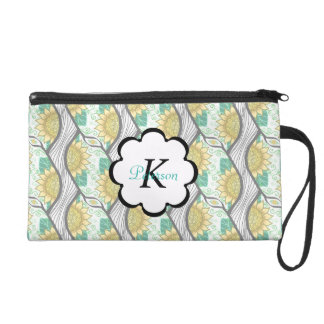 Abstract Decorative Sunflower Personalizable Wristlet Purse