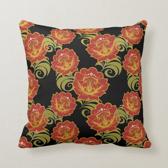 Abstract Deep Red-Yellow Flowers #2 Throw Pillow