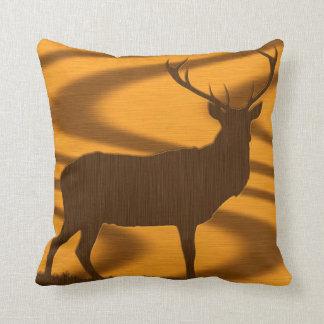 Abstract Deer Buck wood grain throw pillow