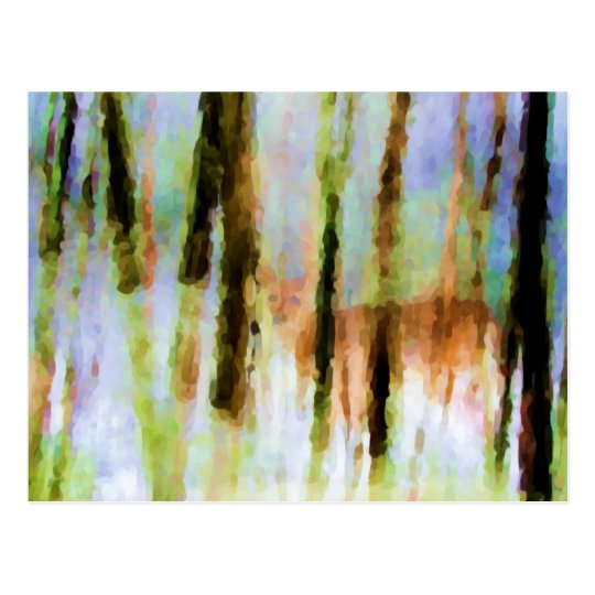 Abstract Deer in the Woods Postcard