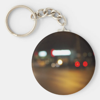 Abstract defocused red and yellow lights basic round button keychain