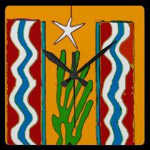 Abstract Desert Star Clock Face wall clocks