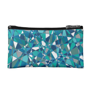 Abstract Design Blue And White Stained Glass Makeup Bag
