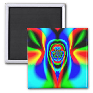 Abstract Design Blue Green And Red Pattern Magnet