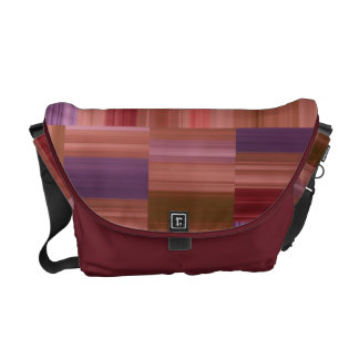 Abstract Design Color Blocks and Stripes Courier Bag
