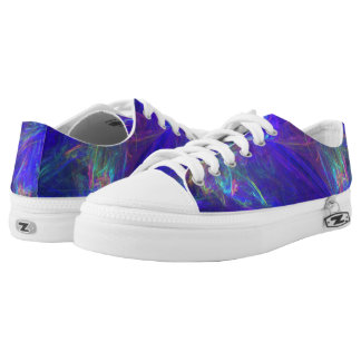 Abstract Design Deep Blue Splashes of Pink Green Low-Top Sneakers