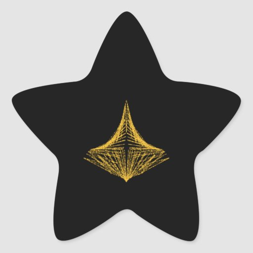 Abstract design, fiery amber and black. star sticker
