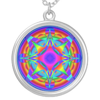 Abstract Design Fractal Geometric Round Pendant Necklace