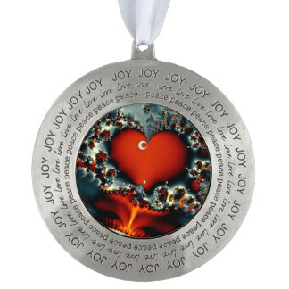 abstract design fractal red heart pewter ornament