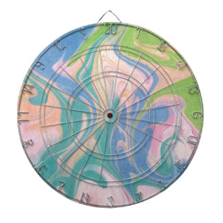 Abstract Design from Original Painting Dartboard With Darts