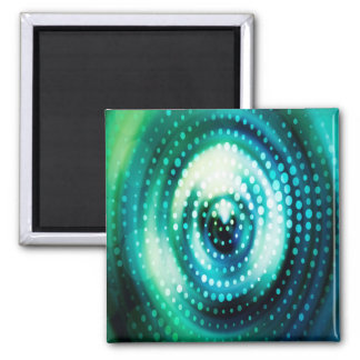 Abstract Design Green & White Concentric Circles Magnet