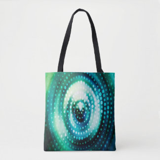 Abstract Design Green & White Concentric Circles Tote Bag