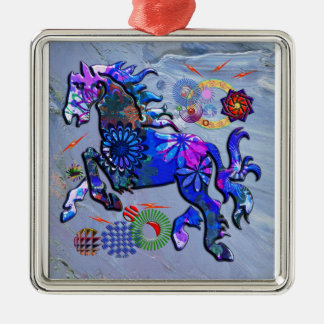 Abstract Design Horse Square Metal Christmas Ornament