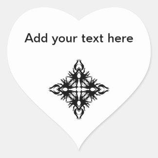 Abstract Design in Black. Heart Sticker