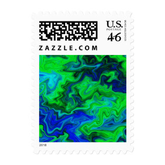 Abstract Design in Blue and Green Postage