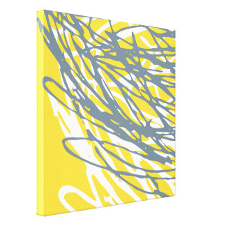 Abstract Design in Gray and Yellow Canvas Print