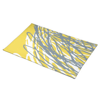 Abstract design in gray and yellow cloth place mat