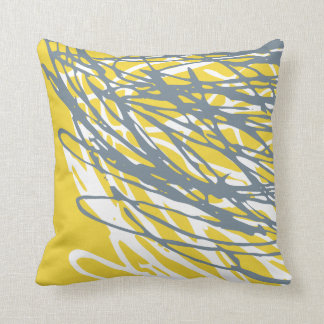 Abstract design in gray and yellow throw pillow