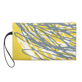 Abstract design in gray and yellow wristlet