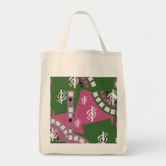 ABSTRACT DESIGN IN PINK AND GREENS   TOTE BAG