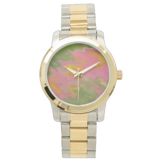 ABSTRACT DESIGN IN PINKS, YELLOWS &GREENS WRIST WATCHES