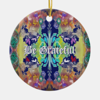 Abstract Design in Purples with Your Text Ceramic Ornament