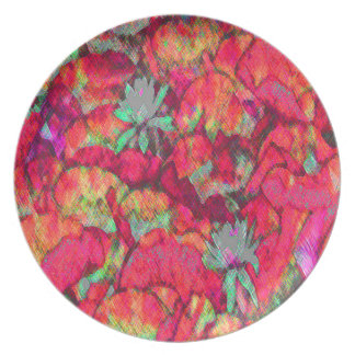 ABSTRACT Design in Summer Flowers Dinner Plate
