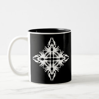 Abstract Design in White. Two-Tone Coffee Mug