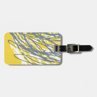 Abstract design in yellow, gray and white bag tag