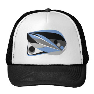 Abstract design mostly blue black and grey mesh hats