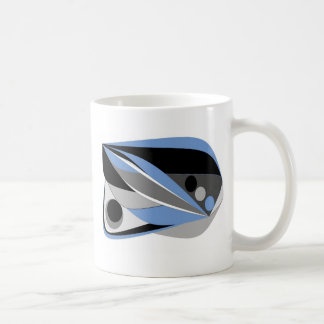 Abstract design mostly blue black and grey coffee mug