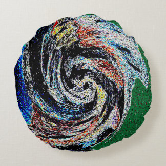 ABSTRACT DESIGN- NAN JEN IN GREEN ROUND PILLOW