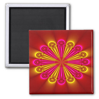 Abstract Design Pink And Yellow Rays Magnet