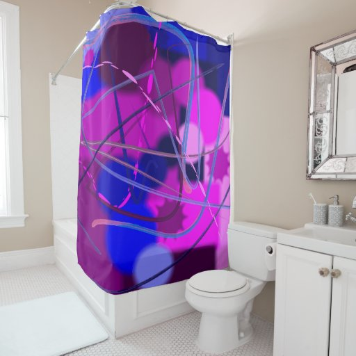 Abstract Design Purple Pink And Blue Shower Curtain Zazzle