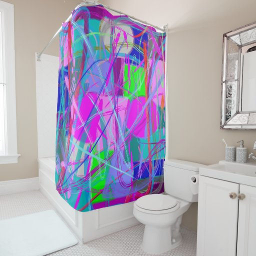 abstract design purple pink blue and green shower curtain zazzle. Black Bedroom Furniture Sets. Home Design Ideas