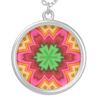 Abstract Design Round Pendant Necklace