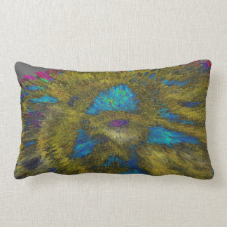 ABSTRACT DESIGN- SMILING MAYAN MEDALLION FLAIRED LUMBAR PILLOW