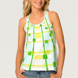 abstract design stripes green and yellow tank top