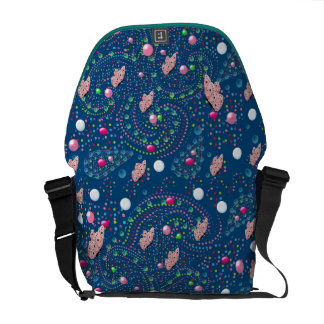 abstract design with butterflies messenger bags