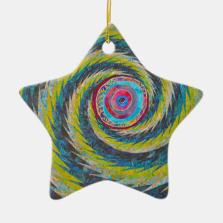 Abstract Design Yellow Blue Whirlwind Ceramic Ornament